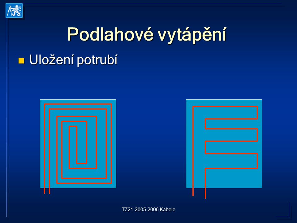 Podlahové vytápění Uložení potrubí TZ21 2005-2006 Kabele