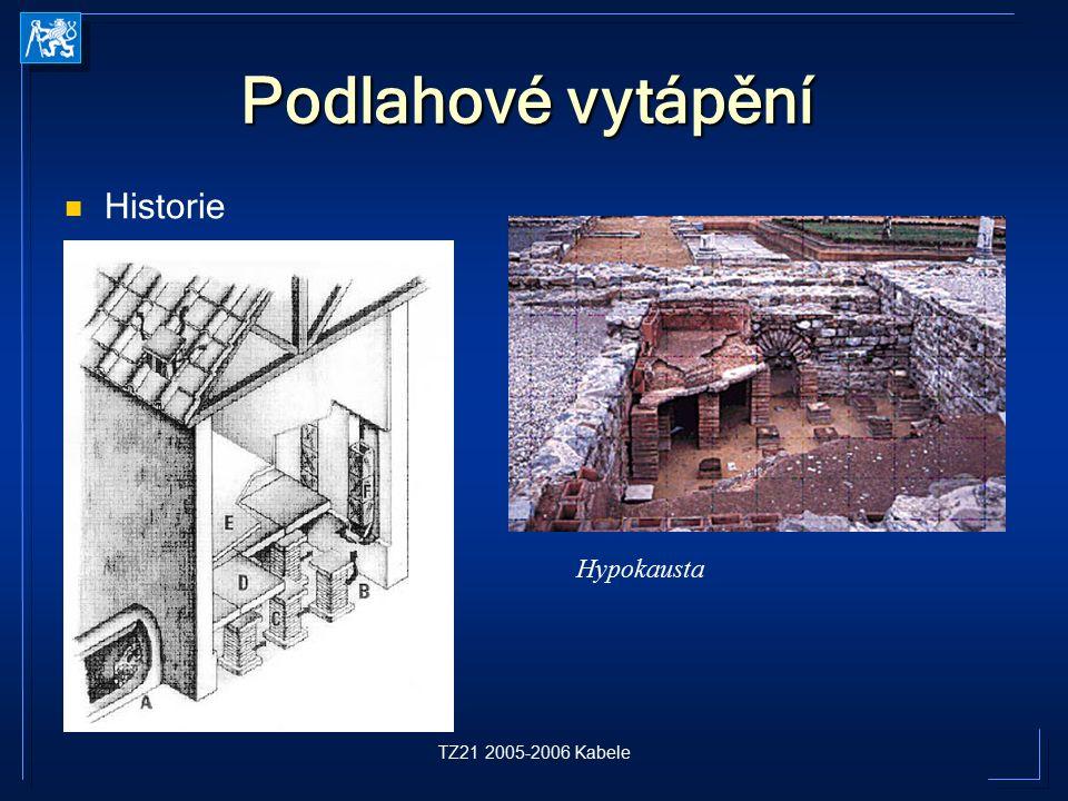 Podlahové vytápění Historie Hypokausta TZ21 2005-2006 Kabele