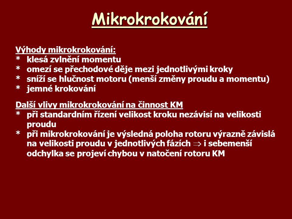 Mikrokrokování Výhody mikrokrokování: * klesá zvlnění momentu