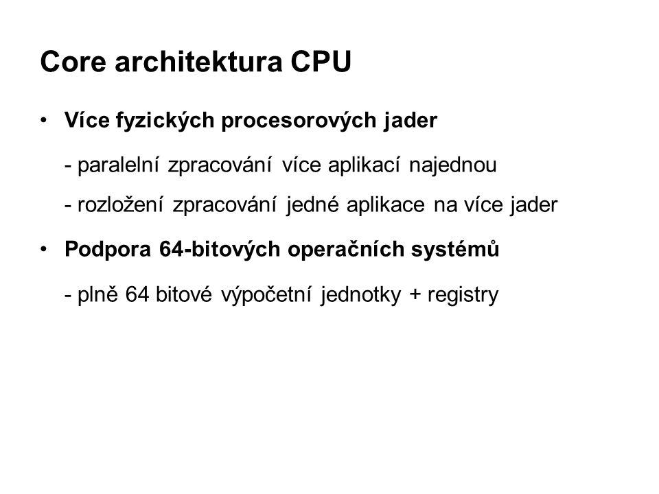 Core architektura CPU Více fyzických procesorových jader