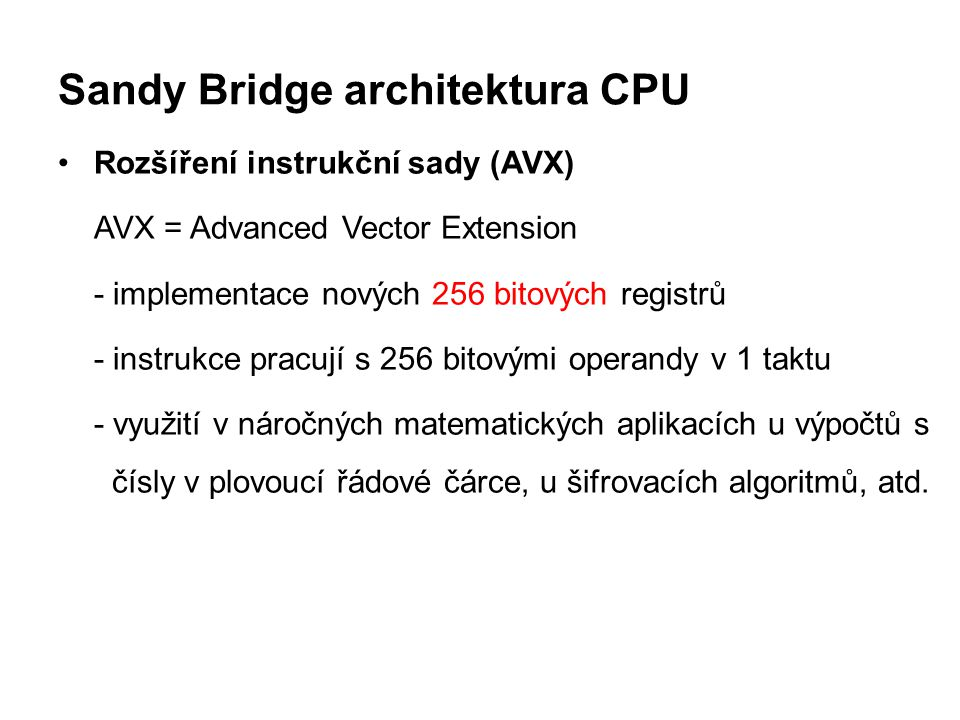 Sandy Bridge architektura CPU