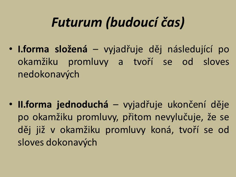 Futurum (budoucí čas) I.forma složená – vyjadřuje děj následující po okamžiku promluvy a tvoří se od sloves nedokonavých.