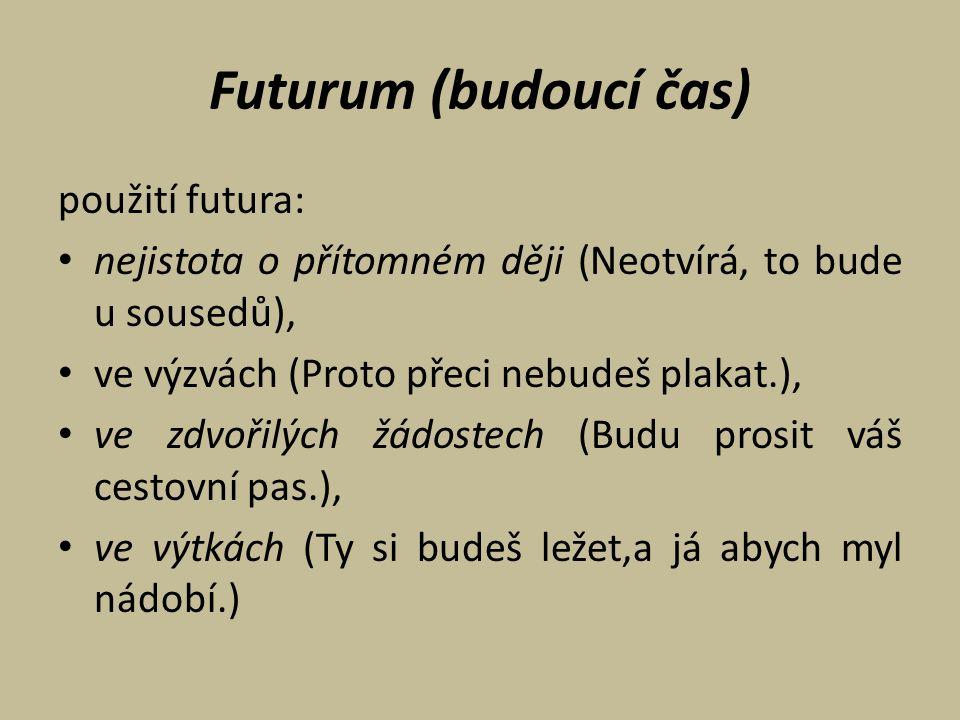 Futurum (budoucí čas) použití futura: