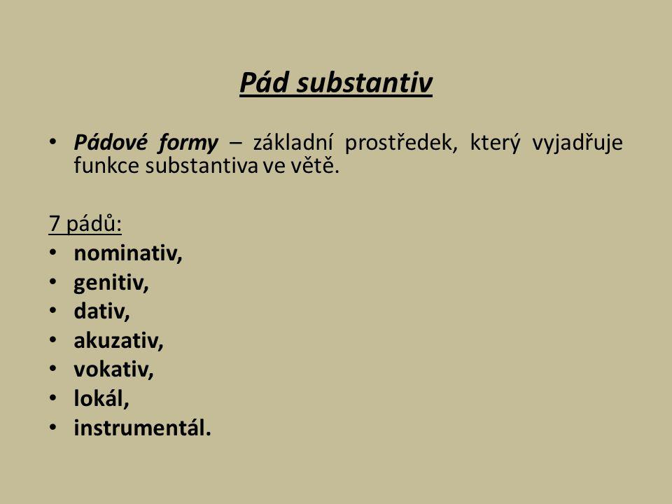 Pád substantiv Pádové formy – základní prostředek, který vyjadřuje funkce substantiva ve větě. 7 pádů: