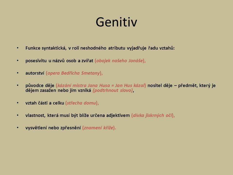 Genitiv Funkce syntaktická, v roli neshodného atributu vyjadřuje řadu vztahů: posesivitu u názvů osob a zvířat (obojek našeho Jonáše),