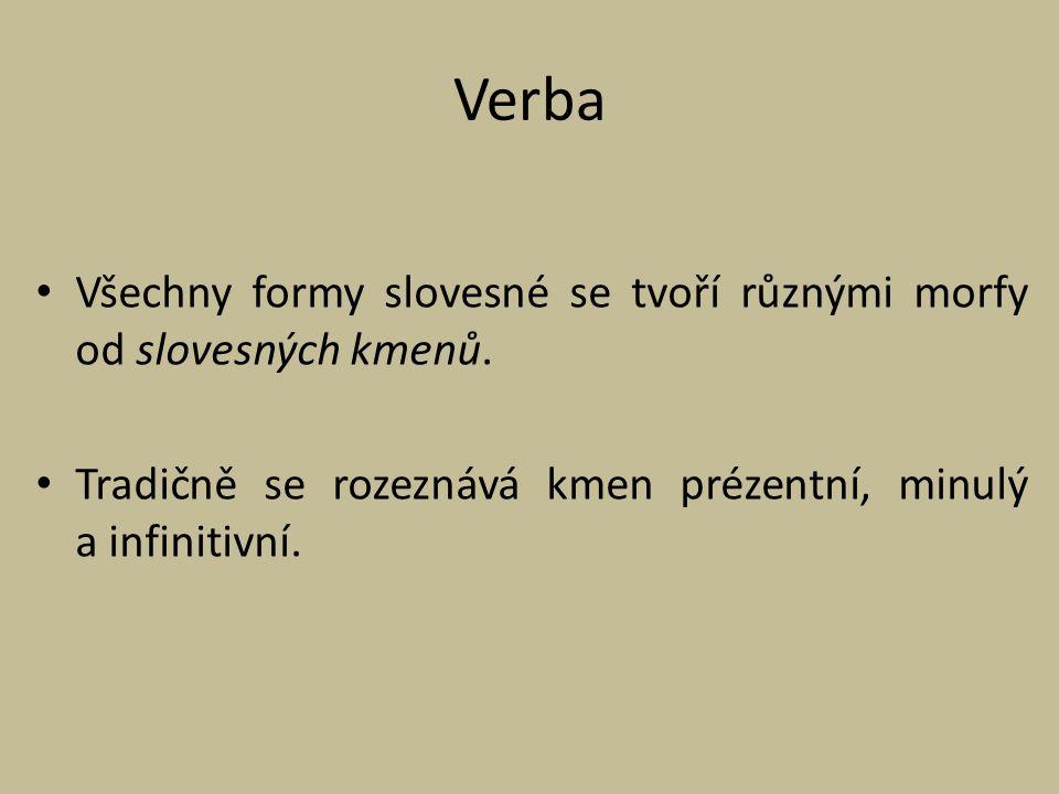 Verba Všechny formy slovesné se tvoří různými morfy od slovesných kmenů.