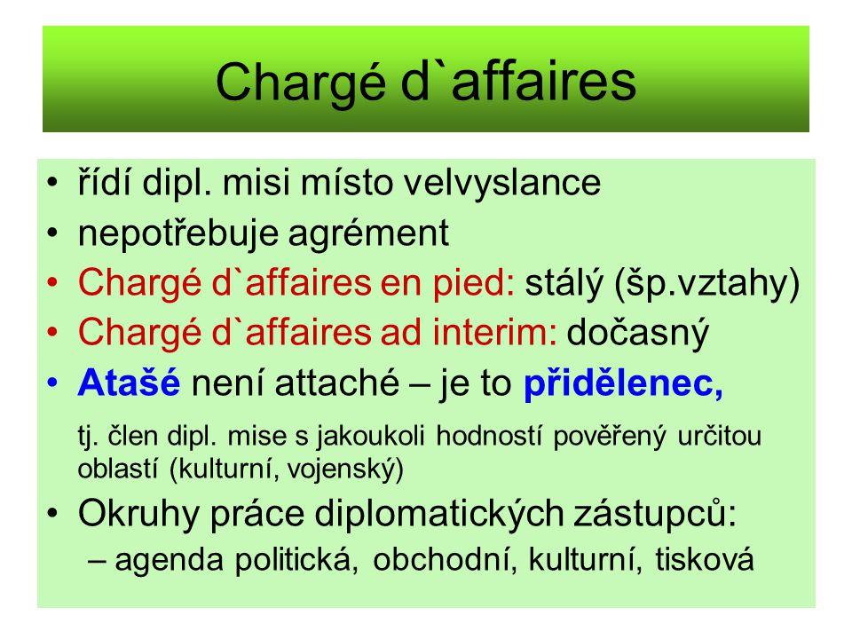 Chargé d`affaires řídí dipl. misi místo velvyslance