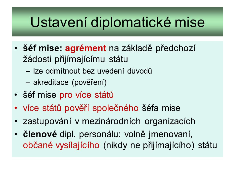 Ustavení diplomatické mise