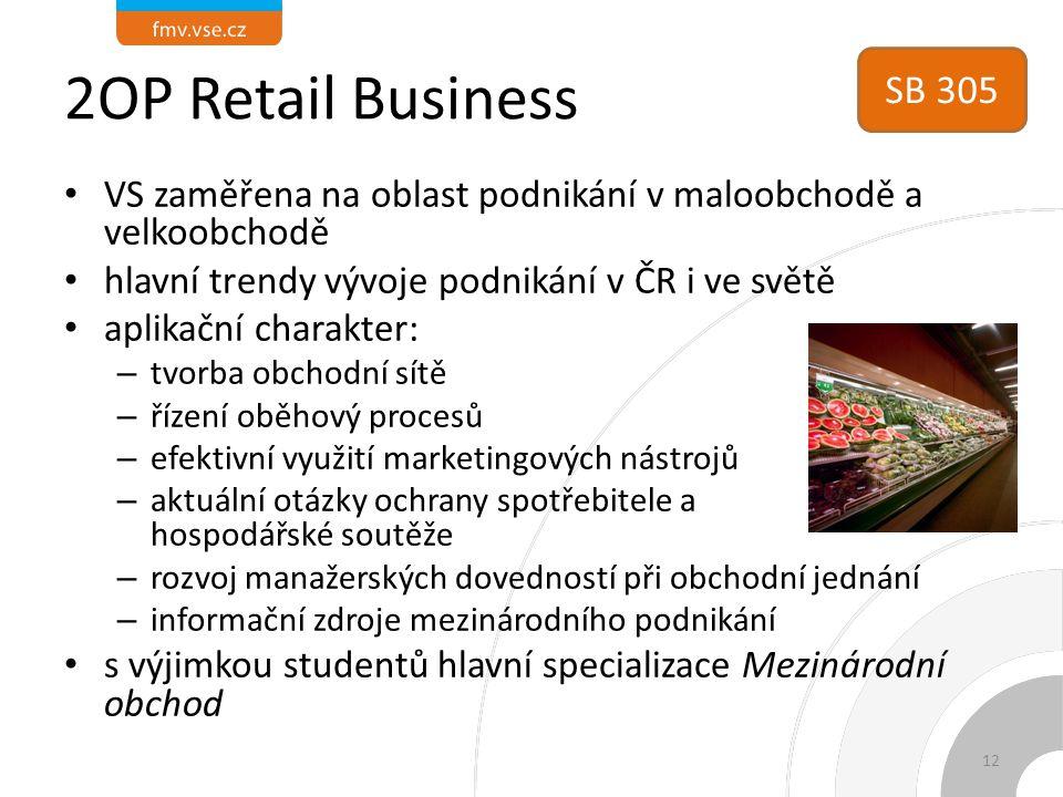 2OP Retail Business SB 305. VS zaměřena na oblast podnikání v maloobchodě a velkoobchodě. hlavní trendy vývoje podnikání v ČR i ve světě.