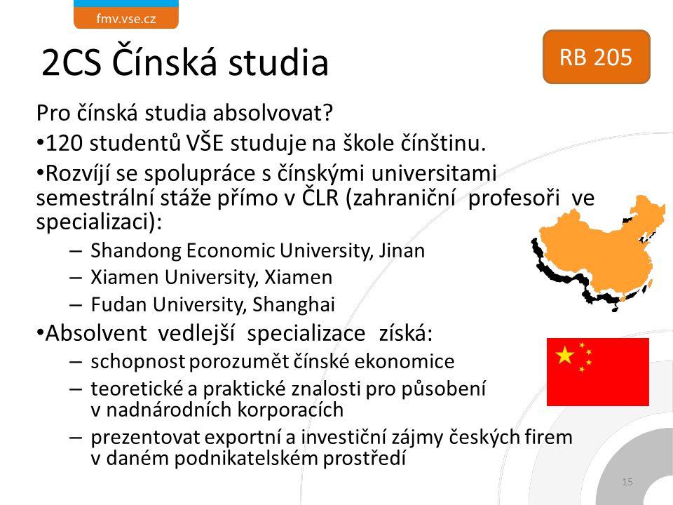 2CS Čínská studia RB 205 Pro čínská studia absolvovat