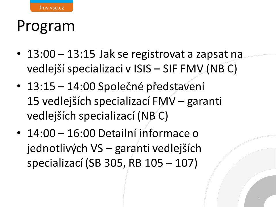 Program 13:00 – 13:15 Jak se registrovat a zapsat na vedlejší specializaci v ISIS – SIF FMV (NB C)