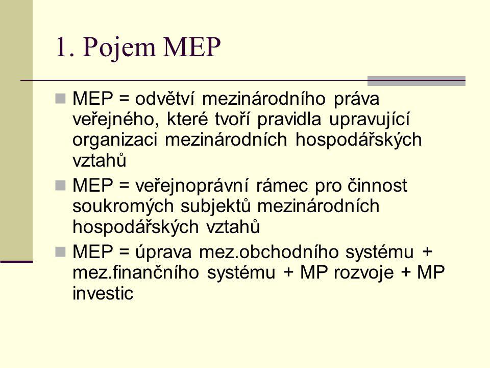 1. Pojem MEP MEP = odvětví mezinárodního práva veřejného, které tvoří pravidla upravující organizaci mezinárodních hospodářských vztahů.