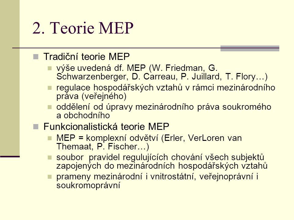 2. Teorie MEP Tradiční teorie MEP Funkcionalistická teorie MEP