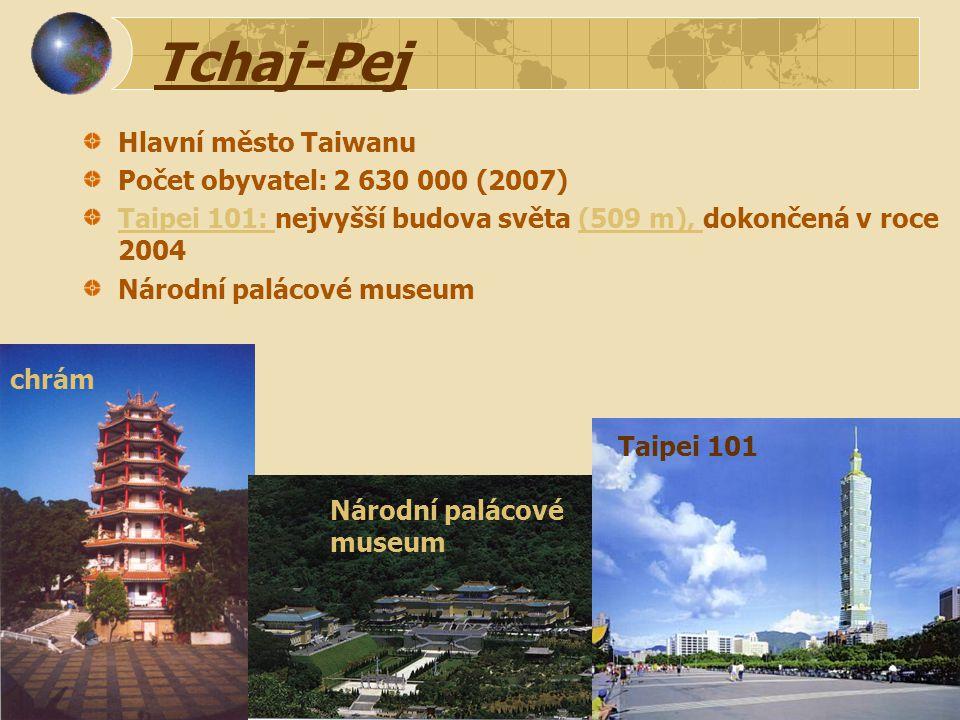 Tchaj-Pej Hlavní město Taiwanu Počet obyvatel: 2 630 000 (2007)