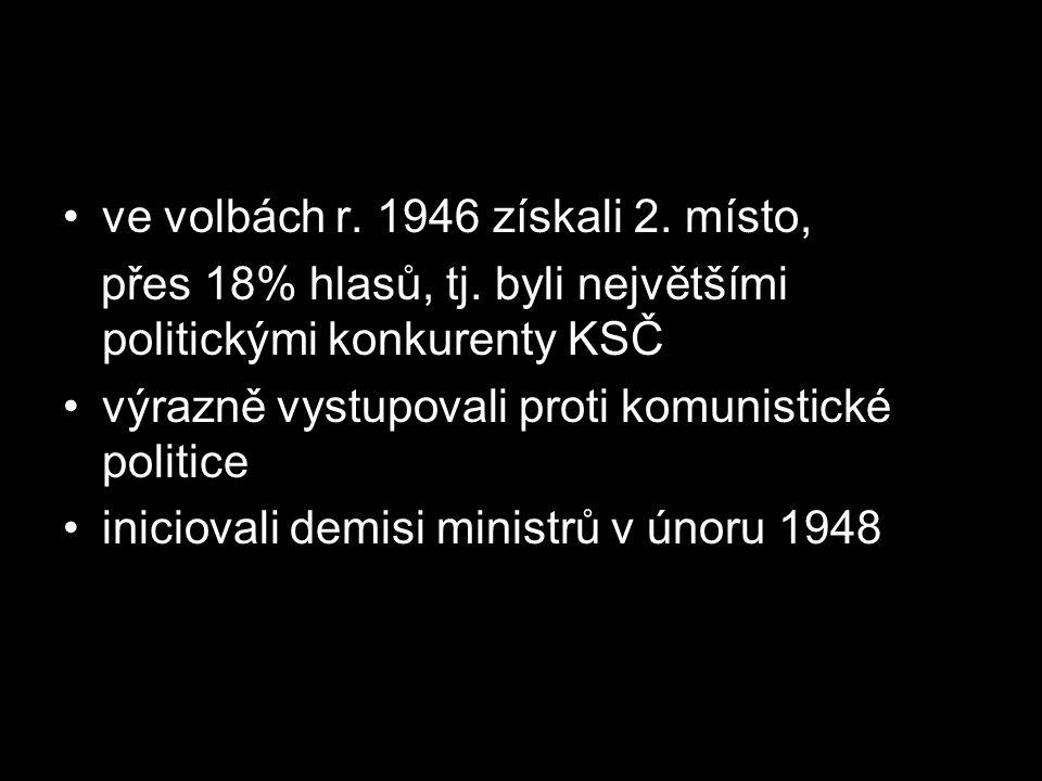 ve volbách r. 1946 získali 2. místo,