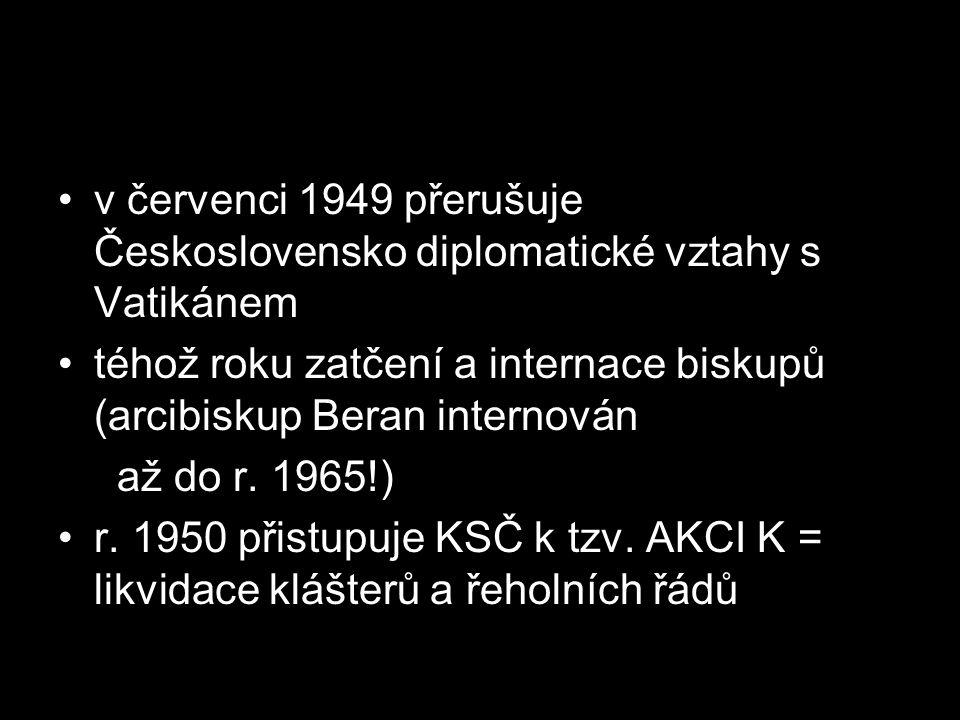 v červenci 1949 přerušuje Československo diplomatické vztahy s Vatikánem