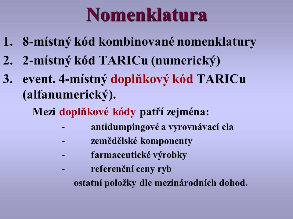 Nomenklatura 8-místný kód kombinované nomenklatury