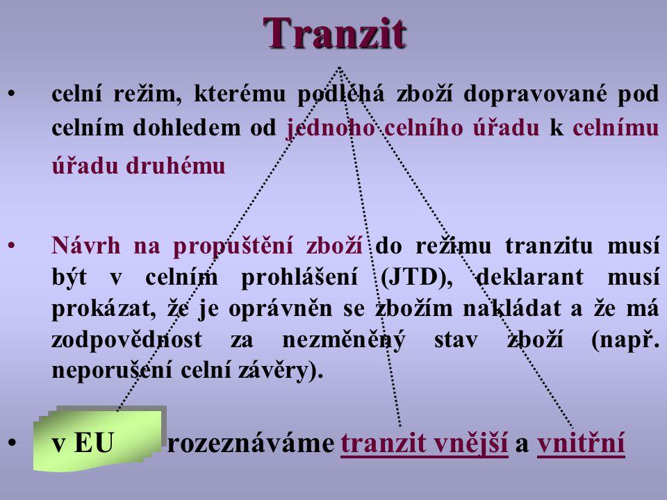 Tranzit v EU rozeznáváme tranzit vnější a vnitřní