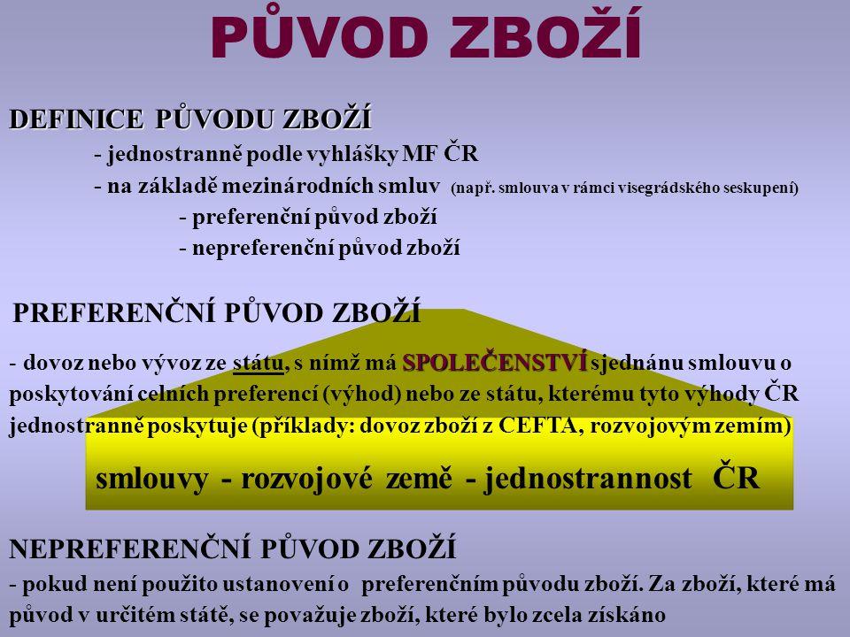 smlouvy - rozvojové země - jednostrannost ČR