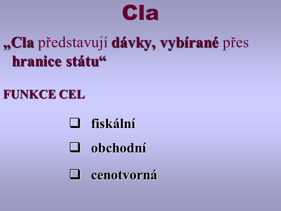 """Cla """"Cla představují dávky, vybírané přes hranice státu fiskální"""