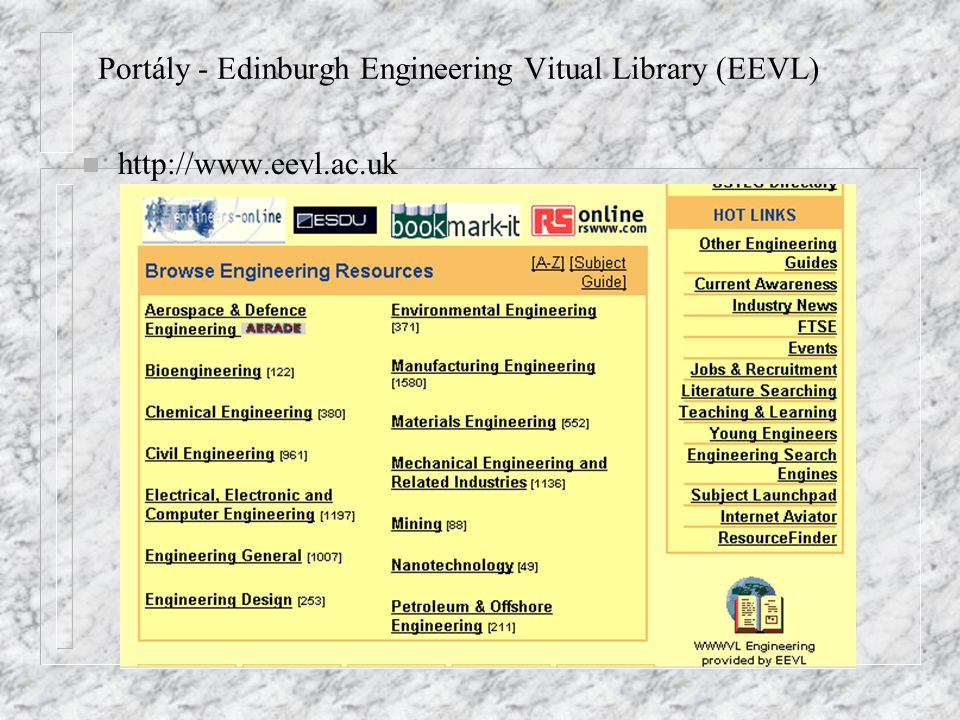 Portály - Edinburgh Engineering Vitual Library (EEVL)