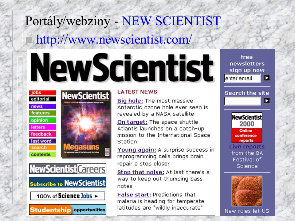 Portály/webziny - NEW SCIENTIST