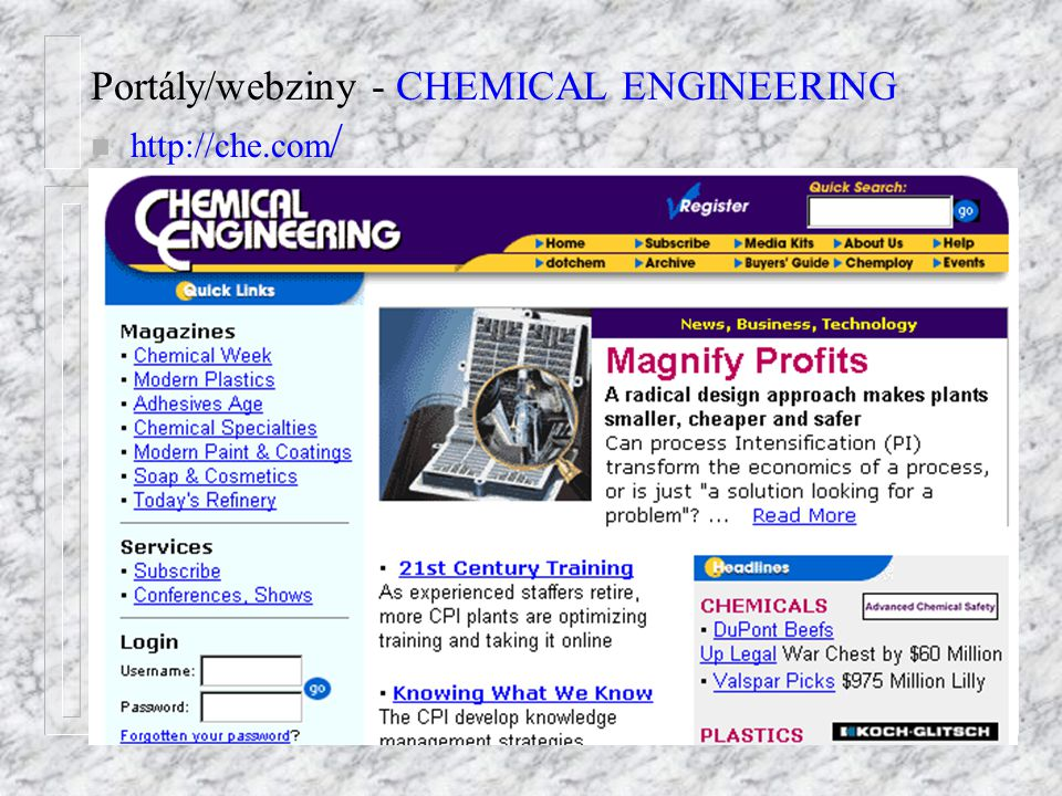 Portály/webziny - CHEMICAL ENGINEERING