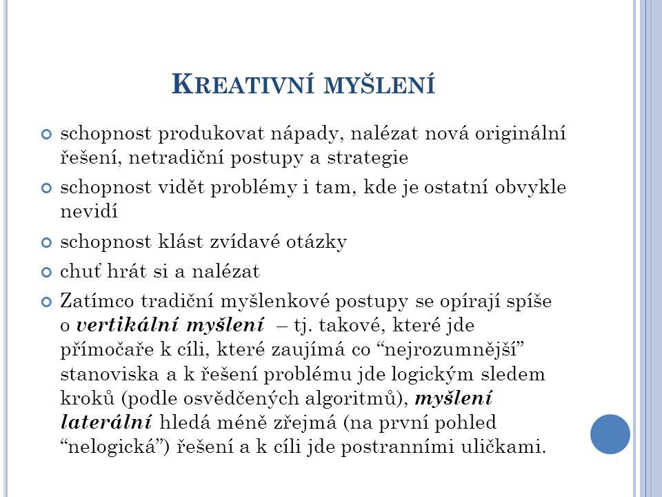 Kreativní myšlení schopnost produkovat nápady, nalézat nová originální řešení, netradiční postupy a strategie.