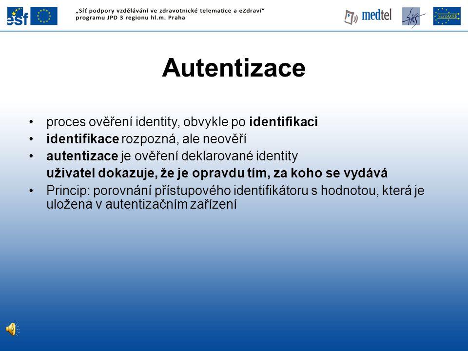 Autentizace proces ověření identity, obvykle po identifikaci