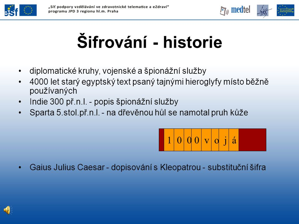 Šifrování - historie 1 0 0 0 v o j á