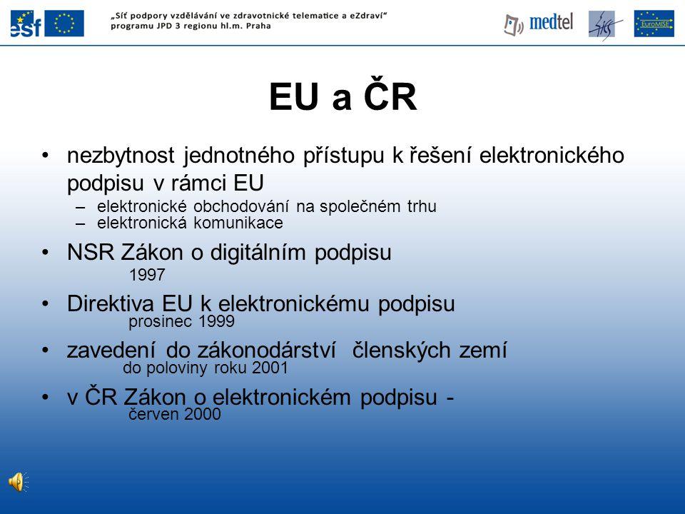 EU a ČR nezbytnost jednotného přístupu k řešení elektronického podpisu v rámci EU. elektronické obchodování na společném trhu.