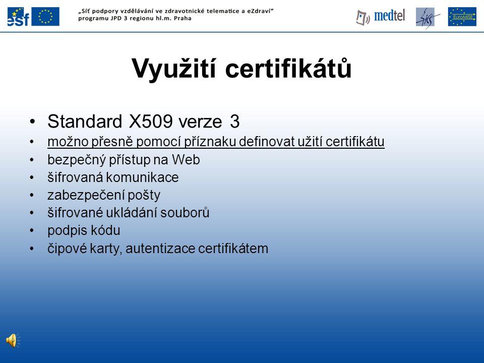 Využití certifikátů Standard X509 verze 3