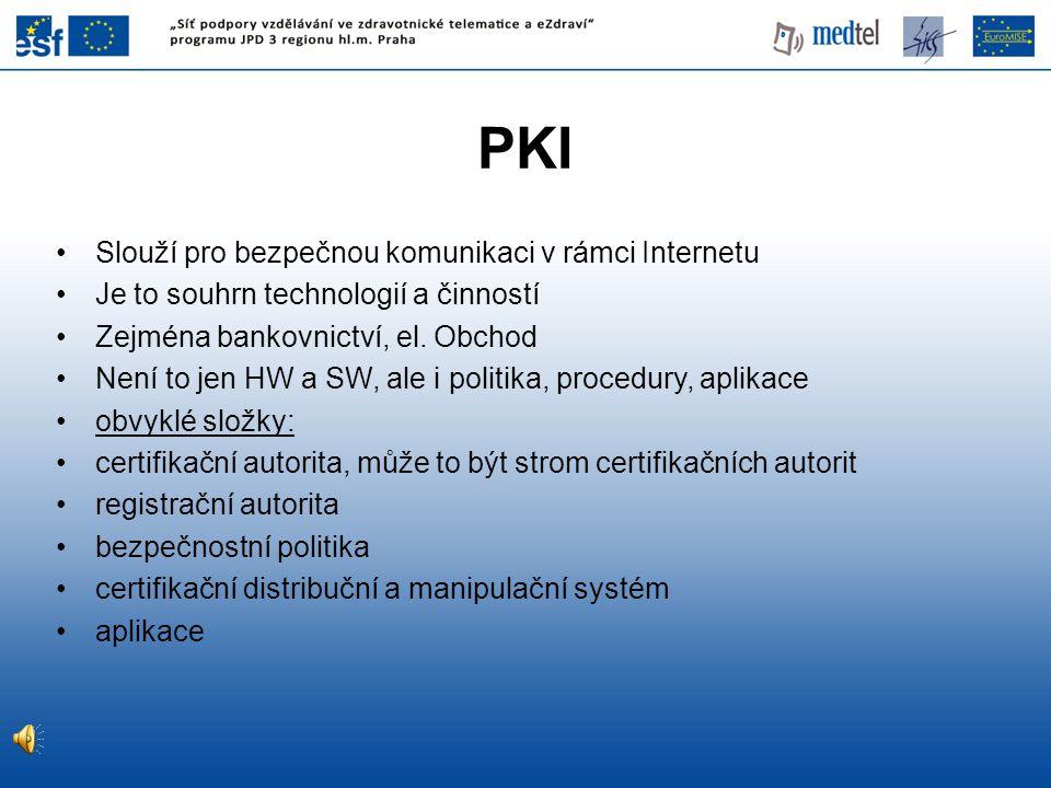 PKI Slouží pro bezpečnou komunikaci v rámci Internetu