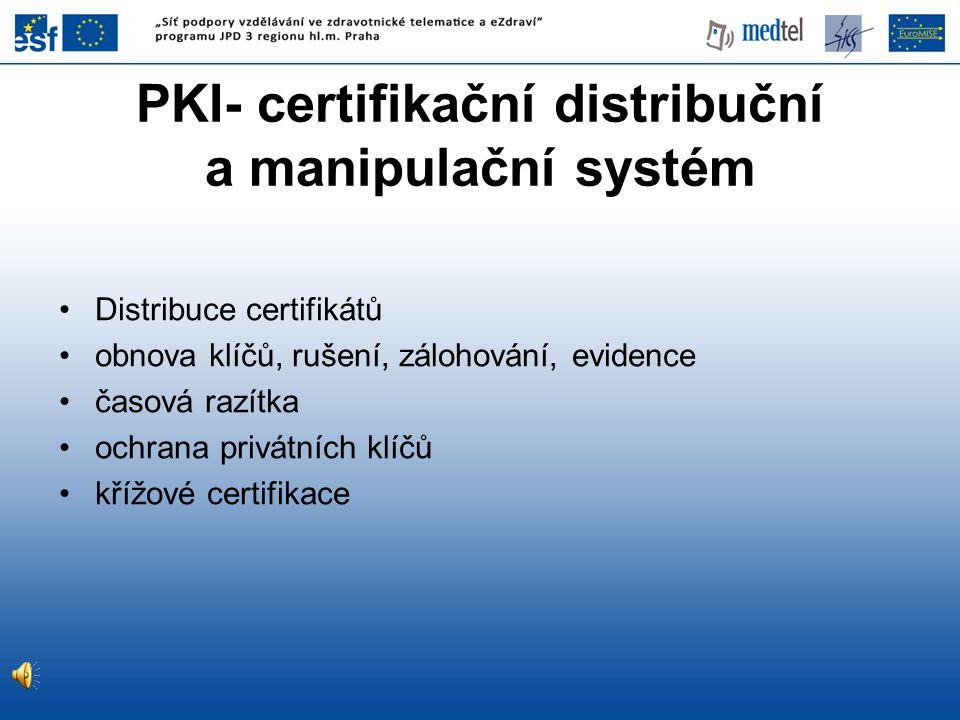 PKI- certifikační distribuční a manipulační systém