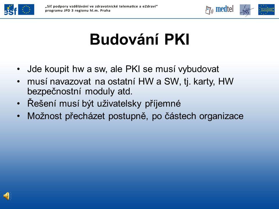 Budování PKI Jde koupit hw a sw, ale PKI se musí vybudovat