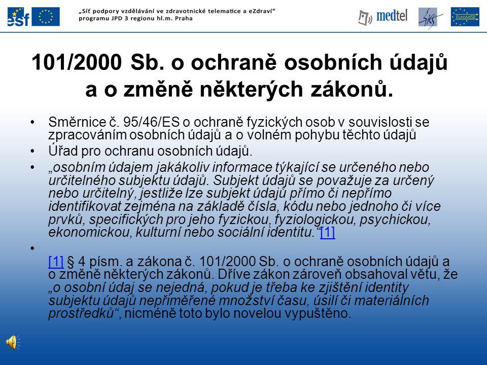 101/2000 Sb. o ochraně osobních údajů a o změně některých zákonů.