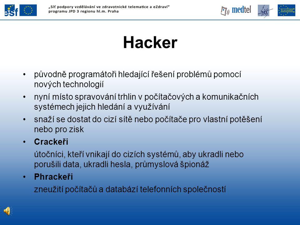 Hacker původně programátoři hledající řešení problémů pomocí nových technologií.