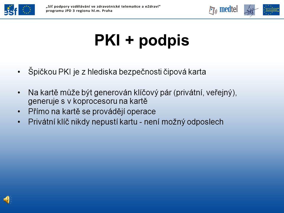 PKI + podpis Špičkou PKI je z hlediska bezpečnosti čipová karta