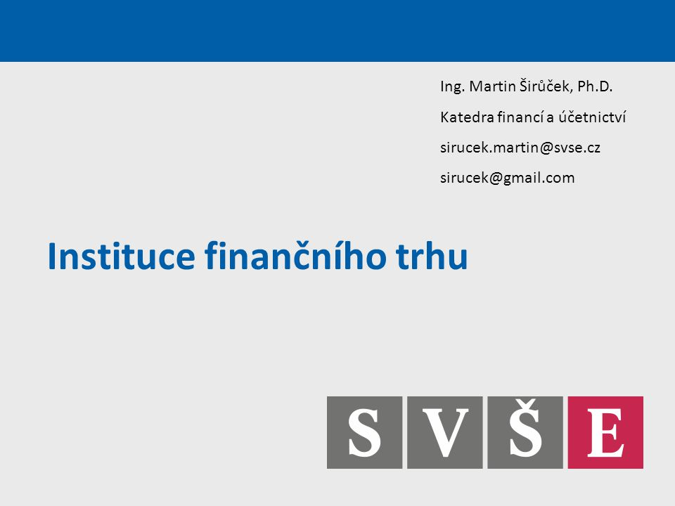 Instituce finančního trhu