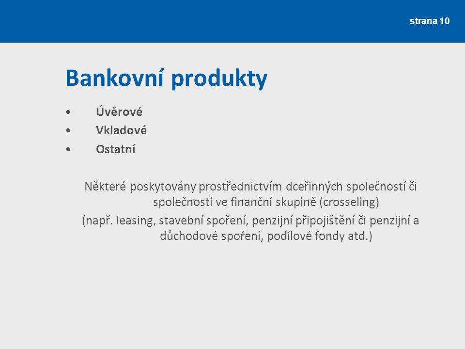 Bankovní produkty Úvěrové Vkladové Ostatní