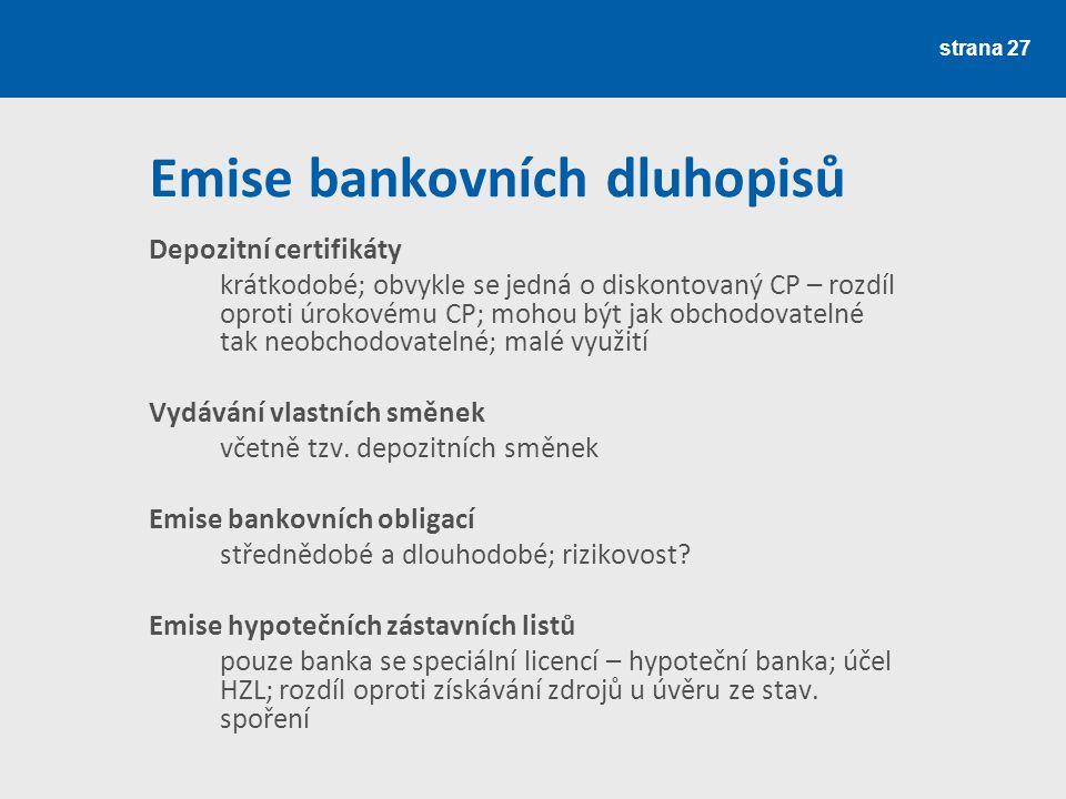 Emise bankovních dluhopisů