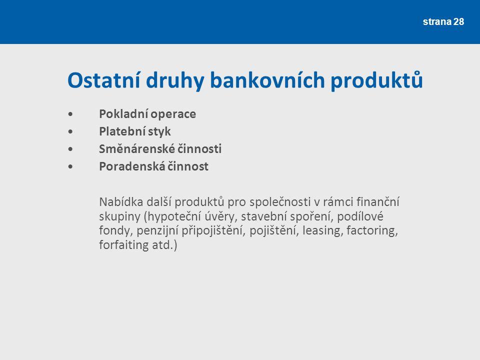 Ostatní druhy bankovních produktů