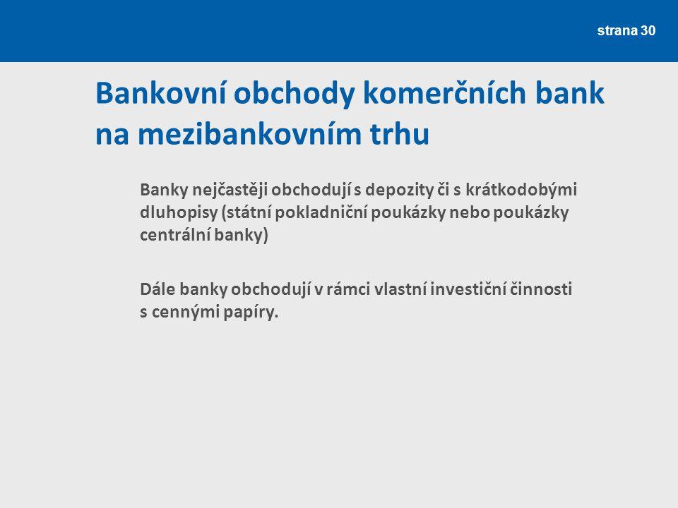Bankovní obchody komerčních bank na mezibankovním trhu
