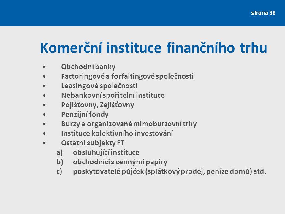 Komerční instituce finančního trhu