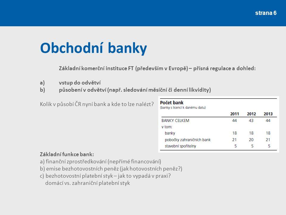 Obchodní banky a) vstup do odvětví