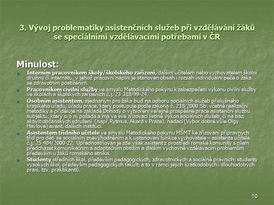3. Vývoj problematiky asistenčních služeb při vzdělávání žáků se speciálními vzdělávacími potřebami v ČR