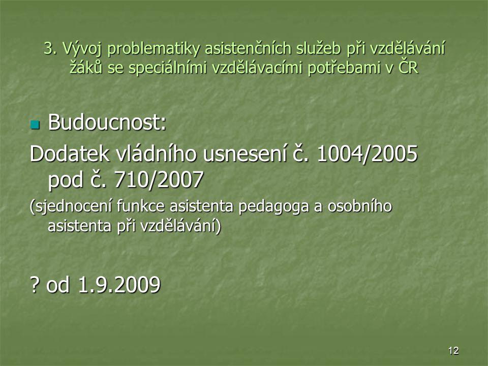 Dodatek vládního usnesení č. 1004/2005 pod č. 710/2007