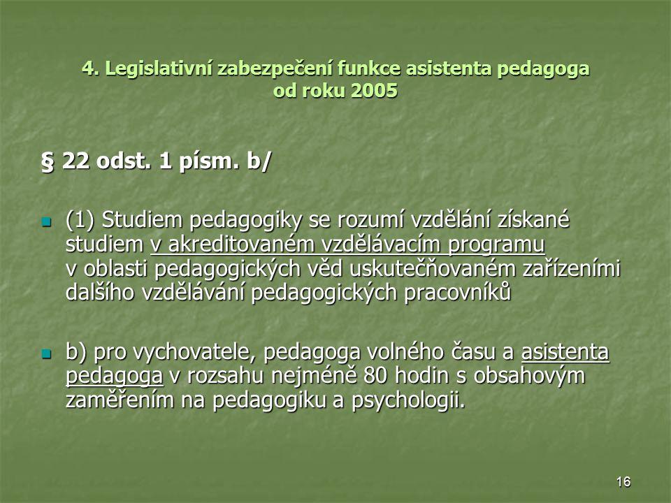 4. Legislativní zabezpečení funkce asistenta pedagoga od roku 2005