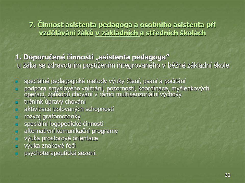 """1. Doporučené činnosti """"asistenta pedagoga"""