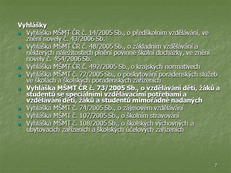 Vyhlášky Vyhláška MŠMT ČR č. 14/2005 Sb., o předškolním vzdělávání, ve znění novely č. 43/2006 Sb.